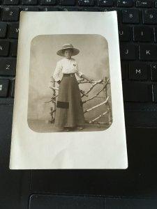 Antique Photo Postcard RPPC- Bror Gustav, Woman, Long skirt , hat