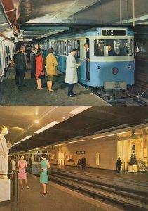 Louvre Paris Metro Subway Train Station 2x French Postcard s