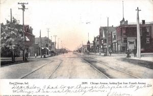 East Chicago Indiana Harbor~Chicago Avenue East at Forsythe~Barber Pole~1907 CT