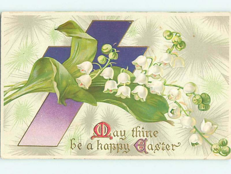 Divided-Back easter LILY OF THE VALLEY FLOWERS & JESUS CROSS r3007