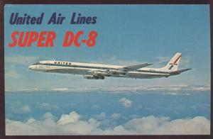 United Air Lines Super DC 8 Clouds Flying Passenger Plane Airplane Postcard
