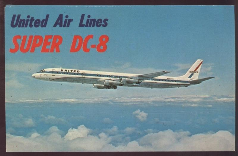 United Air Lines Super DC 8 Clouds Flying Passenger Plane Airplane