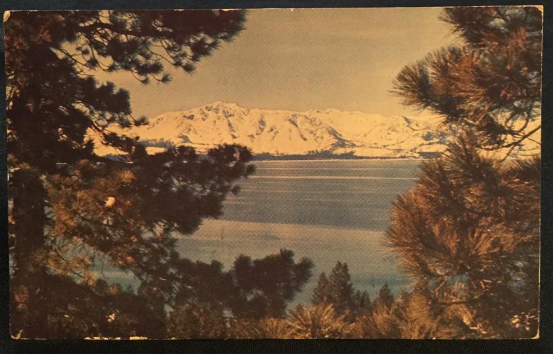 Postcard Used Sierra NV Mountains Lake Tahoe NV LB