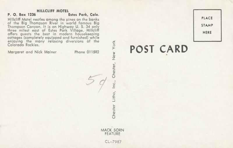 ESTES PARK , Colorado, 50-60s ; Hillcliff Motel
