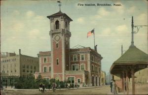 Brookline MA Trolley Stop & Fire Station c1910 Postcard