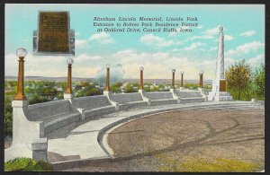Abraham Lincoln Memorial Park Entrance Council Bluffs Iowa Used c1948