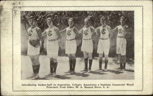 Introducing Basketball in Argentina America in Buenos Aires c1920 Postcard