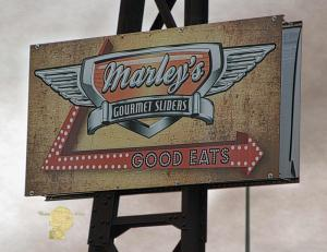 Set of 6 Marleys Gourmet Sliders Sign Post Processed Photograph West Jordan Utah