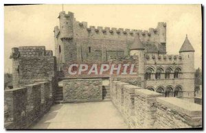 Old Postcard Ghent gravensteen Keep and chapel seen from the platform of the ...