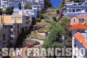 Postcard Lombard Street, San Francisco in June, California, USA K18