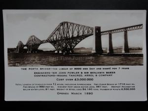 The Forth Bridge, The Labour of 5000 men day & night for 7 years Old RP Postcard