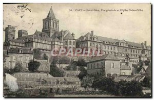 Old Postcard Caen L & # 39Hotel God General view and & # 39Eglise Saint Gilles