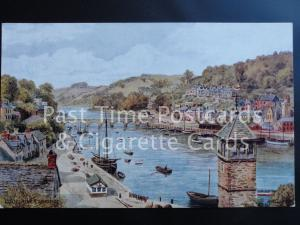 Old PC Cornwall: Looe River & Bridge - from original by A R Quinton