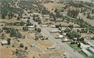 1950's Chrome Postcard Areial View Hayfork Trinity County CA Eastman Unposted