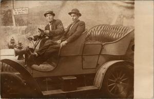 Ottawa to La Salle IL~11 Miles~Men Ride in Bucket Seat Car~Studio Prop~RPPC 1910