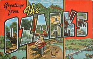 Large Letter Greetings from the OZARKS 1975 Linen