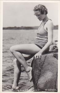 Beautiful Lady At Water's Edge It Looks Inviting Doesn't It Real Photo