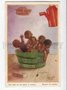 264923 BLACK AMERICANA Kids BATHING by GILSON vintage NOVITAS