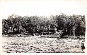 Michigan Mi Real Photo RPPC Postcard 1947 MECOSTA Blue Lake Boats Cottage