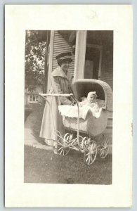 RPPC Something Wicker This Way Comes~Momma & Infant in Her Baby Carriage c1910
