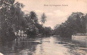 Rivier bij hoogwater Batavia Indonesia, Republik Indonesia Postal Used Unknow...