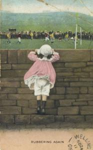 'Rubbering Again' Young Girl Watching Soccer Sports Event Postcard E12 *As Is