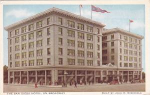 SAN DIEGO, California, 1900-1910's; The San Diego Hotel On Broadway