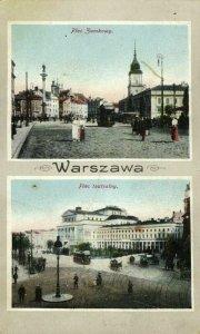 poland, WARSAW WARSZAWA, Plac Zamkowy, Plac Teatralny, Tram (1910s) Postcard