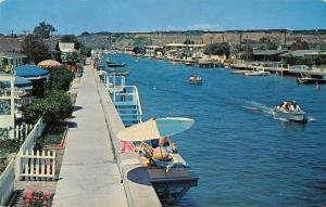 Balboa Island California scenic view boat in Grand Canal vintage pc ZA440644