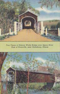 Illinois Galesburg Two Views Of Wolfe Bridge Over Spoon River Curteich