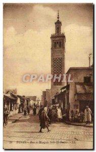 Old Postcard Tunis Street and Mosque Sidiel Beehir
