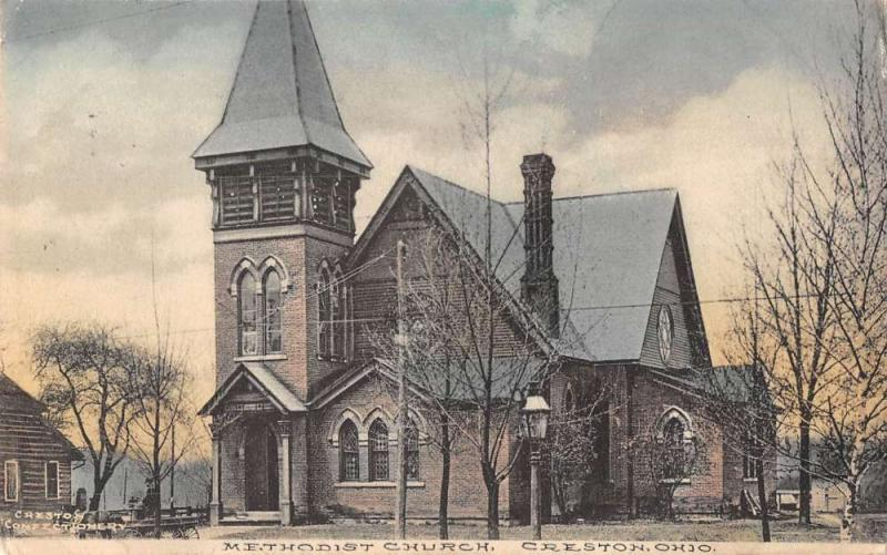 Creston Ohio Methodist Church Antique Postcard J44087
