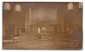1909 RPPC Congregational Church Interior, Pipe Organ, Texarkana, AR Postcard *5A