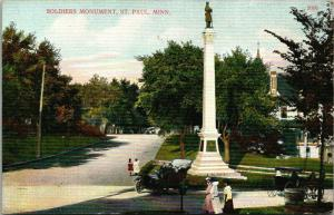St Paul Minnesota~Victorians Gathered at Civil War Soldiers Monument~Car~c1910