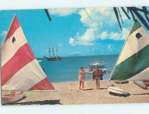 Pre-1980 SMALL SAILBOATS ON THE BEACH Saint Martin Netherlands Antilles G5763