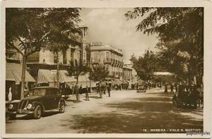 Messina Italy Street Vue Old Cars RPPC Postcard