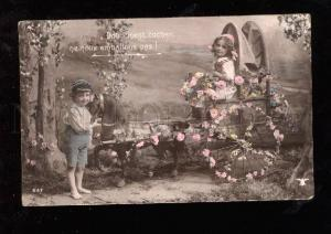 015022 Lovely KIDS on HORSE Toy Carriage Vintage PHOTO tinted