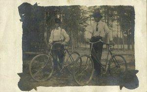 Sebeka, Minnesota, Two Men with their Bike, Bicycle (1909) RPPC Postcard