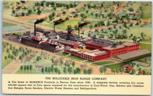 Beaver Dam, WI Linen Postcard MALLEABLE IRON RANGE COMPANY Factory Aerial View