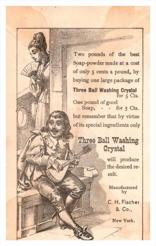 13482  Trade card  NY Three ball Washing Crystal,   Victorian Lovers offering...