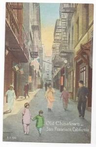 San Francisco CA Old Chinatown Street Scene Vintage Postcard PNC