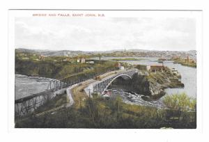 St John Bridge and Falls New Brunswick Canada Vintage Valentine Black Postcard