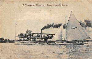 F19/ Lake Okoboji Iowa Postcard c1910 Voyage Discovery Falcon Sailboat Steam