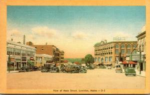 Maine Lewiston View Of Main Street Dexter Press