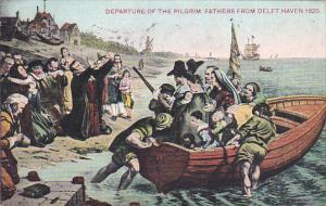 Departure Of The Pilgrim Fathers In 1620 From Delft Haven 1910