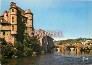 Modern Postcard Espalion Le Chateau and medieval bridge on the Lot
