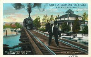 Man Railroad Tracks Wequeton Club House 1920s Traverse City MichiganTeich 3364