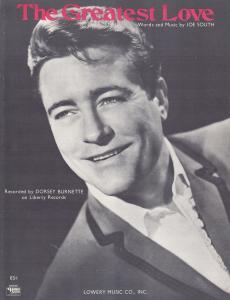 The Greatest Love Dorsey Burnette 1960s Sheet Music