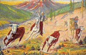 Cowboys Gathering Wild Cattle Unused