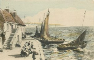 Postcard UK England Faulkner painting sailship